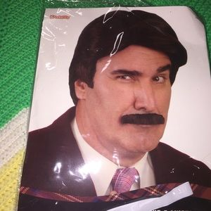 NWT 70s mustache and wig. Perfect for Halloween